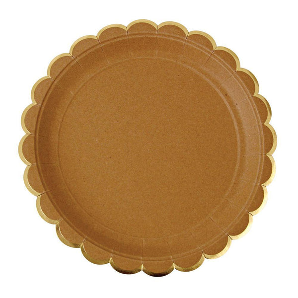 Kraft Scallop Edge Plates (large) - IMAGINE Party Supplies