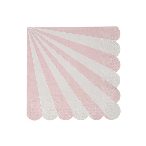 Dusty Pink Fan Stripe Napkins (small) - IMAGINE Party Supplies