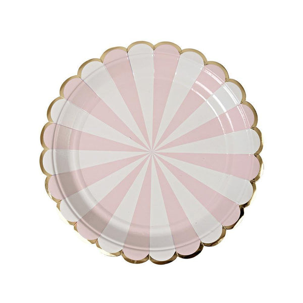 Dusty Pink Fan Stripe Plates (small) - IMAGINE Party Supplies