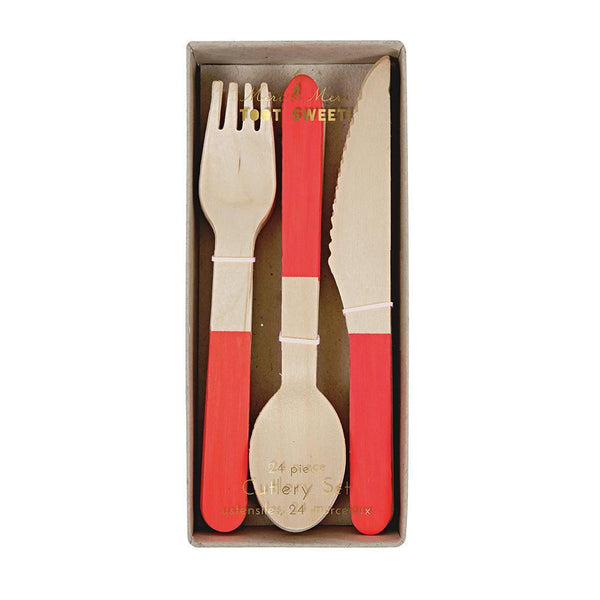 Red Wooden Cutlery Set - IMAGINE Party Supplies