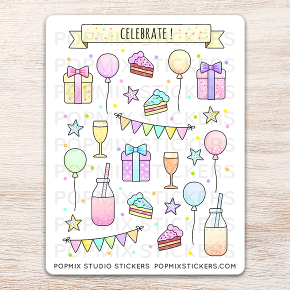 Celebrate Party Stickers