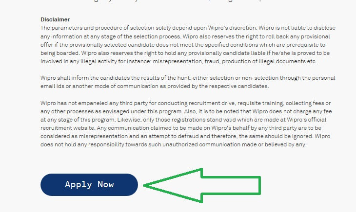 Wipro Registration Page