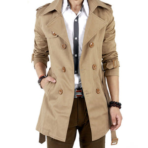 Prettymia Lapel Casual Plain Cotton Blends Men's Trench Coat
