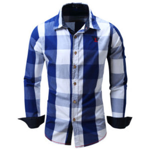 Prettymia Recreational Lattice Long Sleeves Men's Shirt