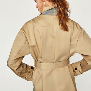 Prettymia Lapel Button Pocket Long Sleeve Trench Coat