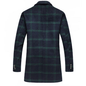 Prettymia Single-Breasted Plaid Lapel Cotton Men's Trench Coat