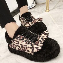 Prettymia Leopard Print Lace Up Round Toe Loafers