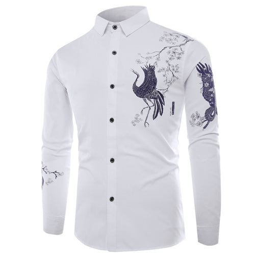 Prettymia Long Sleeve Cotton Flower Men's Shirt