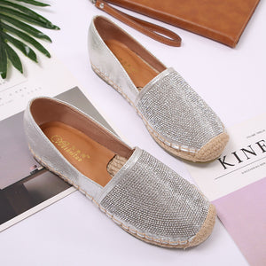 Prettymia Rhinestone Straw Weave Slip On Flat Loafers