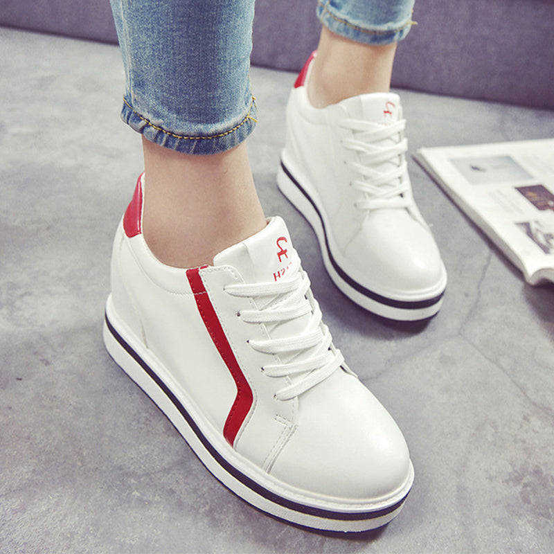 Prettymia High Top Elevator Heel Round Toe Lace Up Sneakers