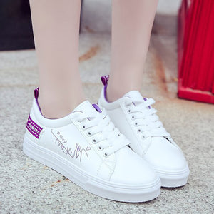 Prettymia Pu Round Toe with a strap Embroidered Athletic Shoes