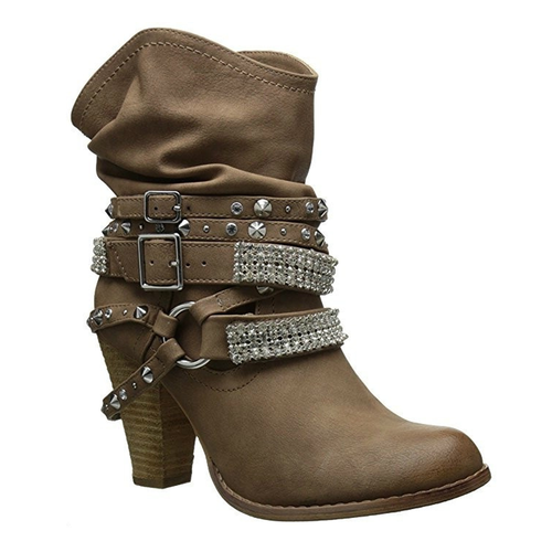 Plus Size Chunky Heel Buckle Women's Booties