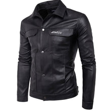 Prettymia Pure Color Single-Breasted Men's Leather Coat