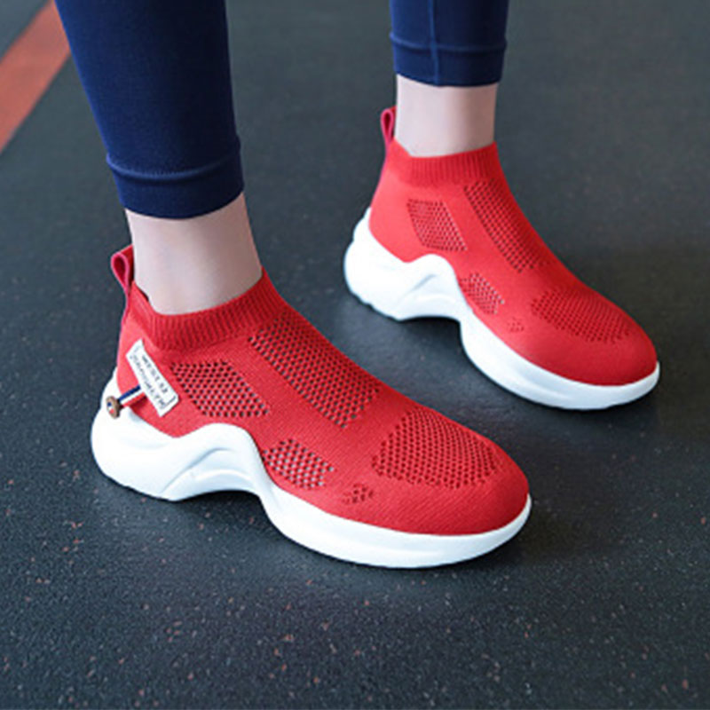 Prettymia Platform Round Toe Slip On Mesh Breathable Sneakers