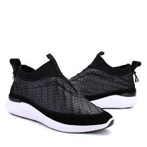 Prettymia Braided Solid Color Smooth Elastic Men's Sneakers