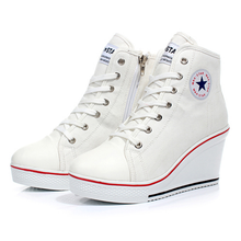 Plus Size Platform Hidden Women Canvas Shoes