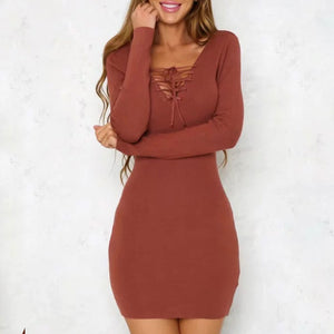 Prettymia V-Neck Patchwork Long Sleeve Knitted Dress