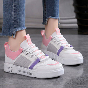 Prettymia Mesh Round Toe Lace Up Sports Shoes