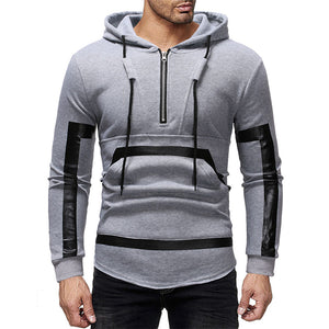Prettymia Patchwork Pocket Oversize Lace Up Men's Hoodies