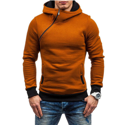 Prettymia Hooded Sleeve Head Oblique Zipper Men's Outerwear