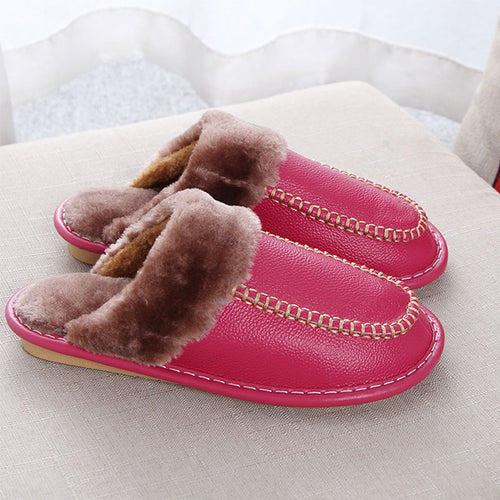Prettymia Comfortable Slipper Short Plus Cow Leather Flat Loafers