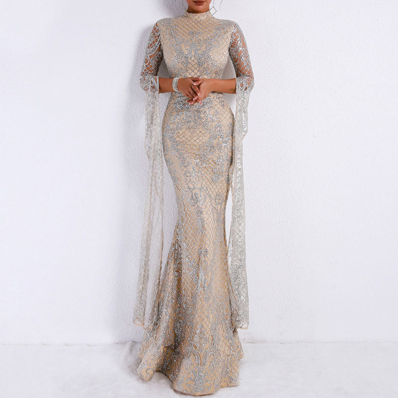 Prettymia Turtleneck Printed Polyester Slim Evening Dresses