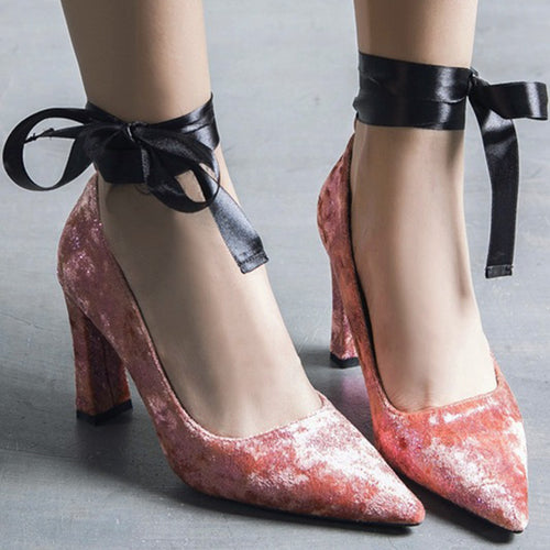Prettymia Suede Lace Up Pointed Toe Chunky Heels