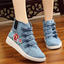 Prettymia Embroidered Elevator Heel Buckle Canvas Shoes