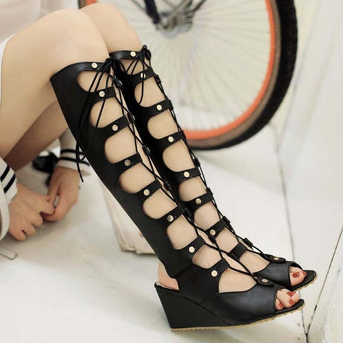 f1add40eabdce1 Prettymia Summer Lace Up Hollow Wedge Sandals
