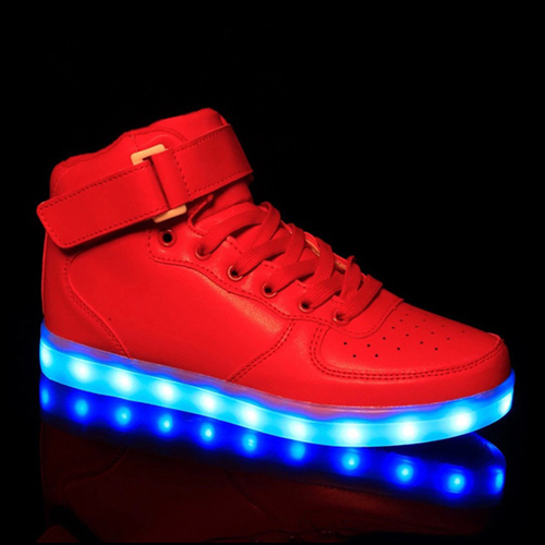 Prettymia Plus Size LED Light Up High Top Platform Sneakers