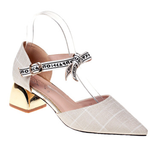 Prettymia Pointed Toe Buckle Chunky Heels