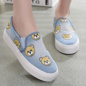 Prettymia Small Bear Slip On Denim Casual Shoes