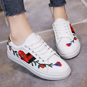 Prettymia Stripe Embroidered Lace Up Round Toe Casual Sneakers