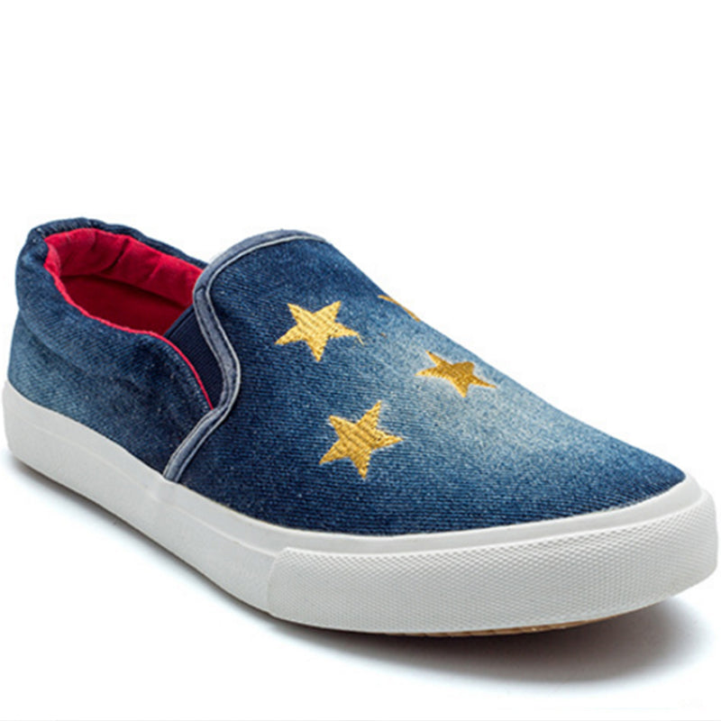 Prettymia Slip On Stars Denim Canvas Shoes