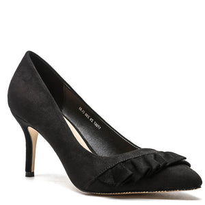 Prettymia Plain Falbala Point Toe Stiletto Heels