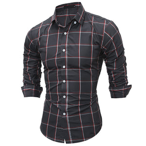 Prettymia Striped Slim Plaid Casual Men's Shirts