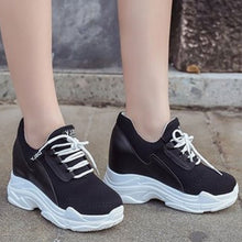 Prettymia Elevator Heel Lace Up Round Toe Sneakers