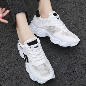 Prettymia Mesh Patchwork Elevator Heel Round Toe Lace Up Casual Shoes