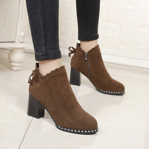 Prettymia Suede  Plain  High Heel  Point Toe  Booties