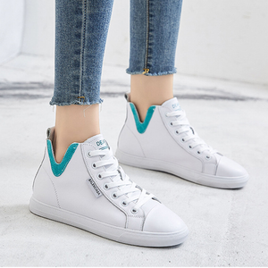 Prettymia Genuine Leather V Design High Top Lace Up Athletic Shoes