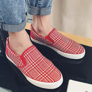 Prettymia Lattice Slip On Men's Casual Canvas Shoes
