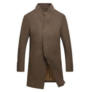 Prettymia Plus Size England Wool Blends Stand Collar Men's Trench Coat