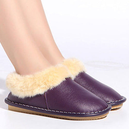 Prettymia Comfortable Waterproof Genuine Leather Flat Loafers