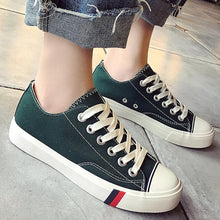Prettymia Stripe Round Toe Lace Up Casual Canvas Shoes