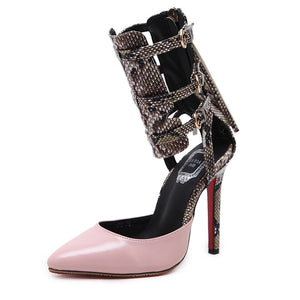 Prettymia Sexy Pointed Toe Buckle Zipper High Heels