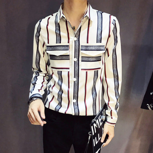 Prettymia Slim Long Sleeve Shirt Stripes Men's Shirt