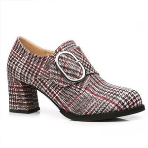 Prettymia Plaid Suede Round Toe Buckle High heels