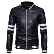 Prettymia PU Stand Collar Patchwork Stripe Men's Leather Coat