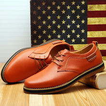 Prettymia Plain Leather Lace Up Men's Casual Shoes