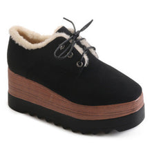 Prettymia Square Toe Lace Up Platform Casuals Shoes